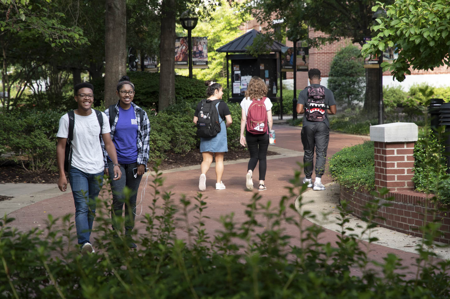 This is a photo of students walking on campus at Harding University.