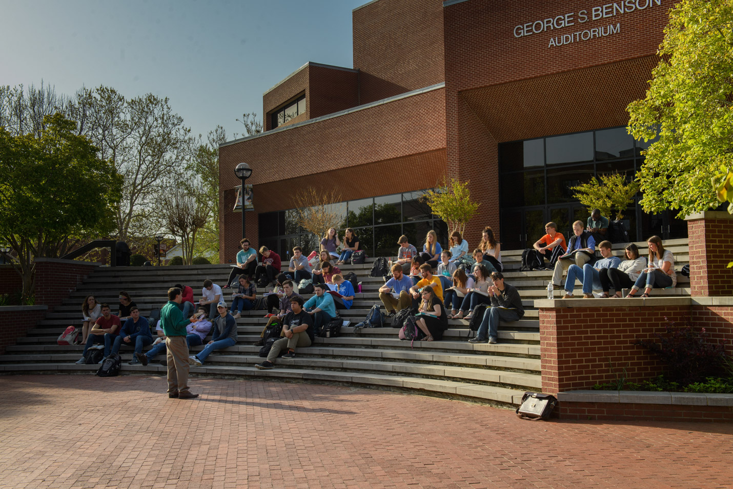 This is a photo of Dr. Guy and his class on the Benson Steps.