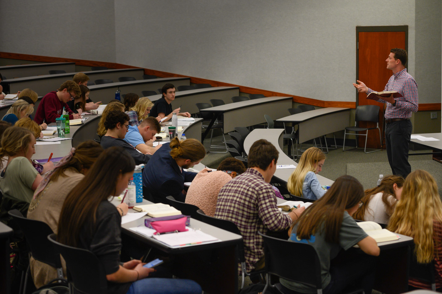 This is a photo of students in a Bible class at Harding.