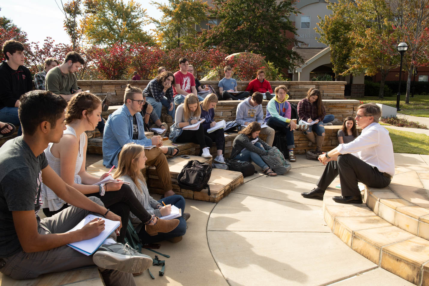 This is a photo of students in the outdoor classroom.