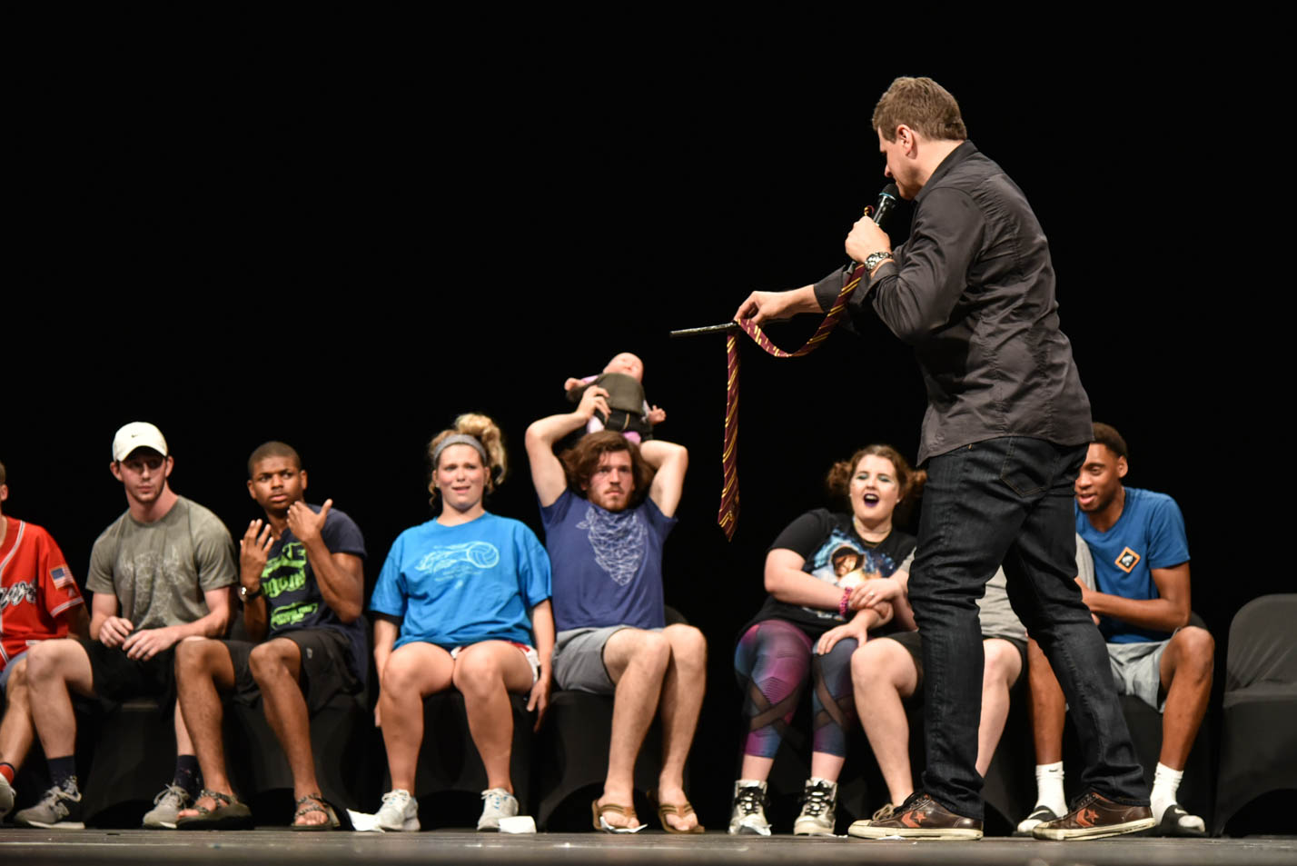 This is a photo of the hypnotist that comes to Impact each year.