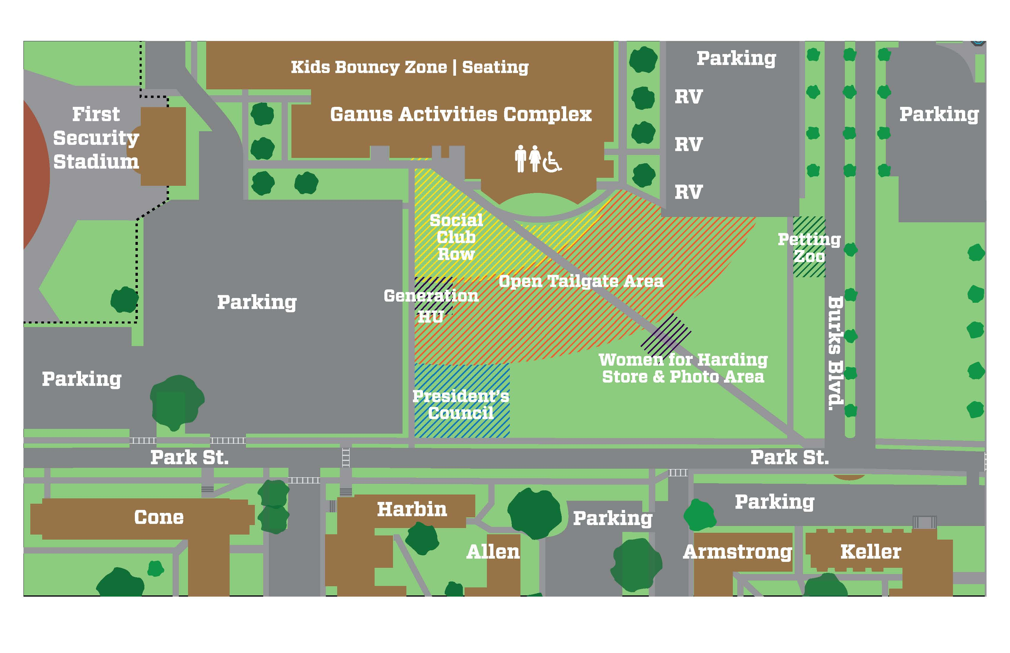 This is a map of the tailgate set up for Homecoming weekend.