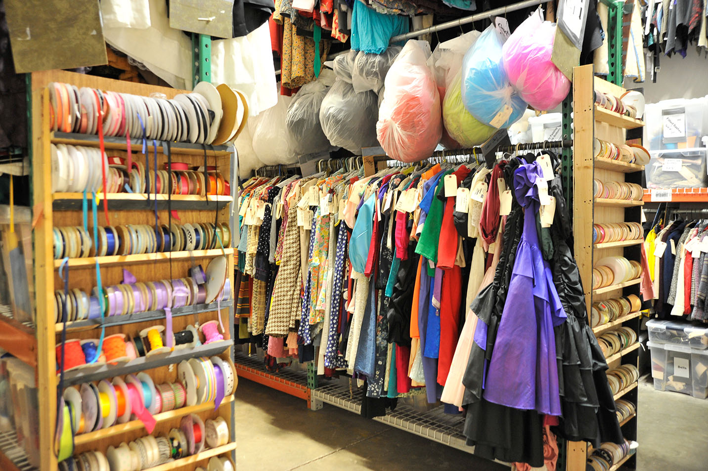 This is a photo of costumes and fabric in the Ulrey Performing Arts Center.