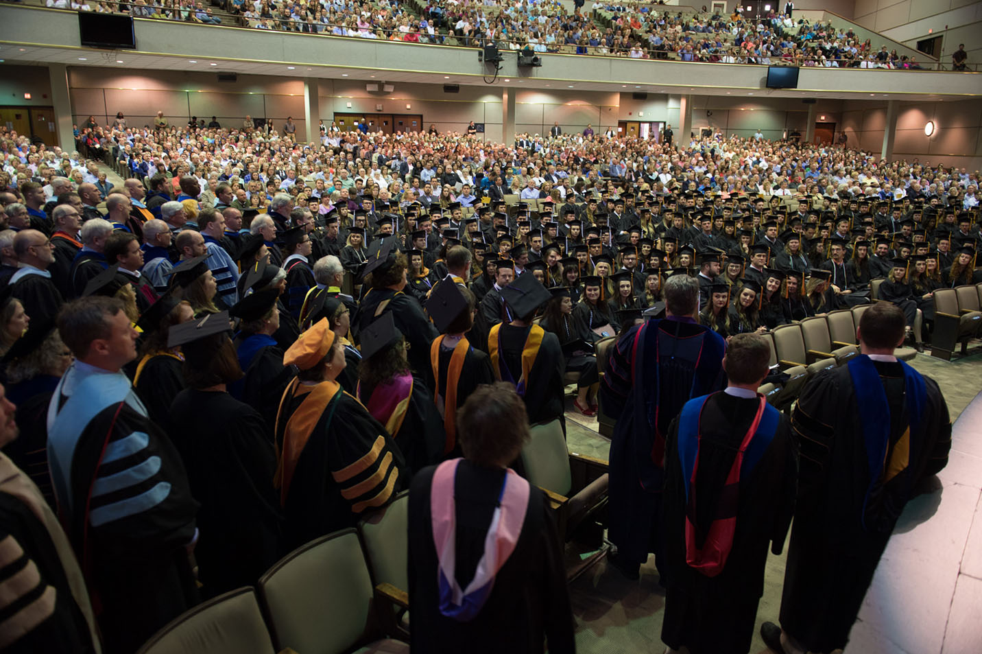 This is a photo of Harding faculty singing The Lord Bless You and Keep You to 2017 graduates.