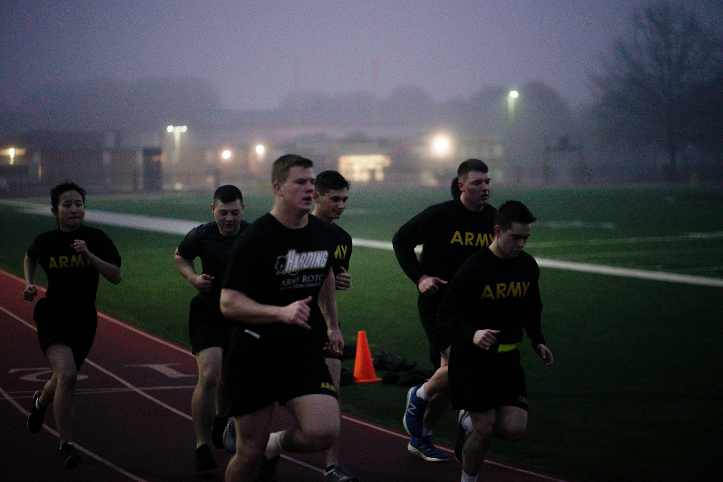 This is a photo of ROTC cadets participating in physical training.