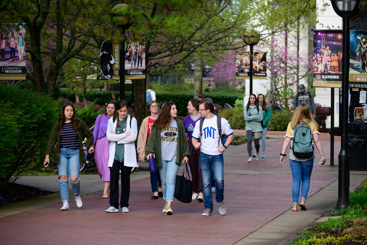 This is a photo of students walking across campus.